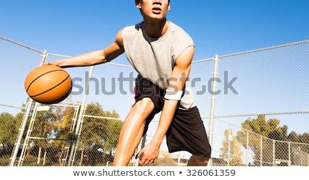 srácok · játszik · kosárlabda · fiatal · kosárlabdázó · ellenfél - stock fotó © deandrobot