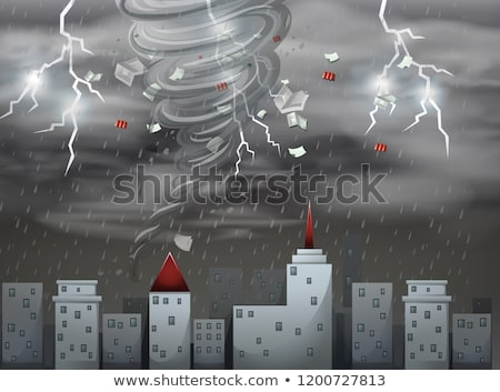 City Scape tornade tempête scène illustration ciel Photo stock © bluering