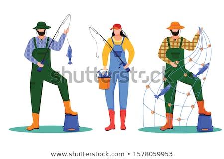 Cartoon pescador idea ilustración hombres pesca Foto stock © cthoman