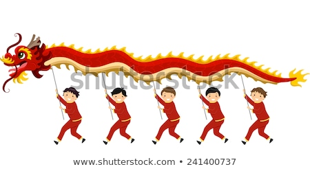 Stickman Kids Dragon Dance Boys Illustration Stock photo © lenm