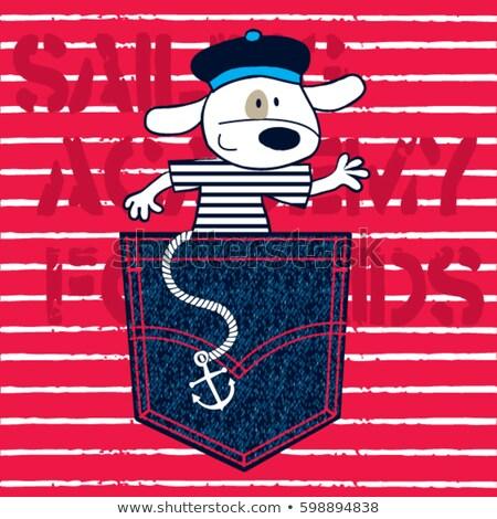 marin · chien · tshirt · cartoon · design · vecteur - photo stock © yopixart