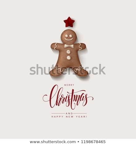 Minimalist style Christmas greeting Card with gingerbread man and calligraphic inscription, vector i Stock photo © ikopylov