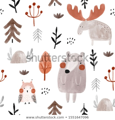 autumn seamless pattern with leaves and squirrels Stock photo © balasoiu