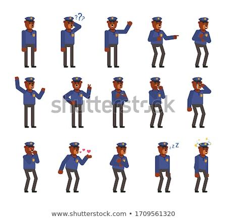 öfkeli · polis · karikatür · polis · memuru · mavi · İrlandalı - stok fotoğraf © cthoman