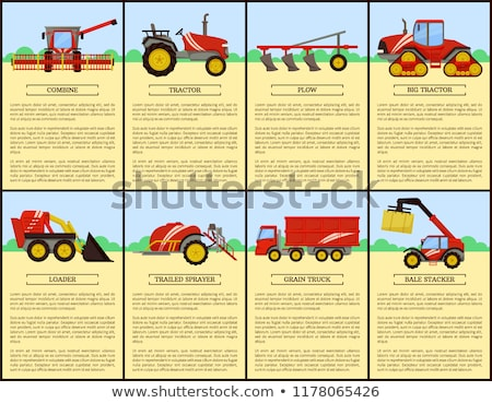 Loader and Combine Posters Set Vector Illustration Stock photo © robuart
