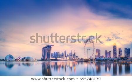 Singapur · gece · Bina · şehir · gün · batımı · seyahat - stok fotoğraf © joyr