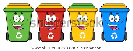 Four Color Recycle Bins Cartoon Character Stock photo © hittoon