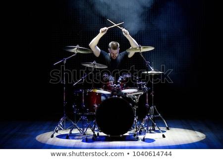 Dobos játszik dob szett színpad figyelmeztetés Stock fotó © cookelma