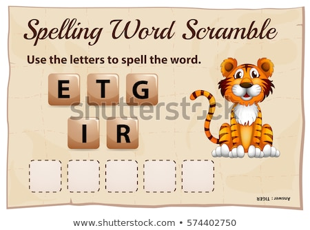 Spelling word scramble game with word tiger Stock photo © colematt