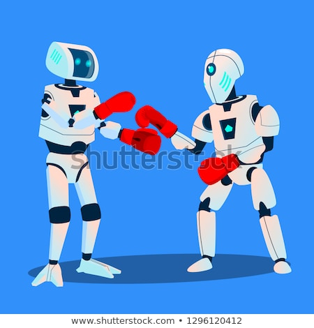 two robots are boxing on ring vector isolated illustration stock photo © pikepicture