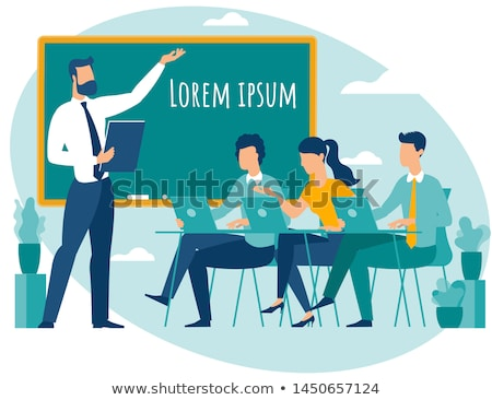 teacher with laptop speaking and student with laptop at desk vector illustration stock photo © rastudio