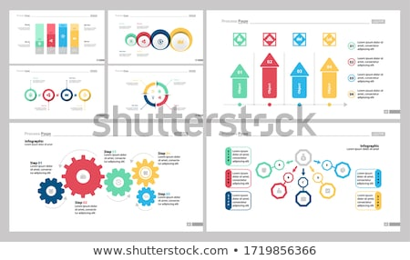 Pie Diagrams with Segments and Flowcharts Set Stock photo © robuart