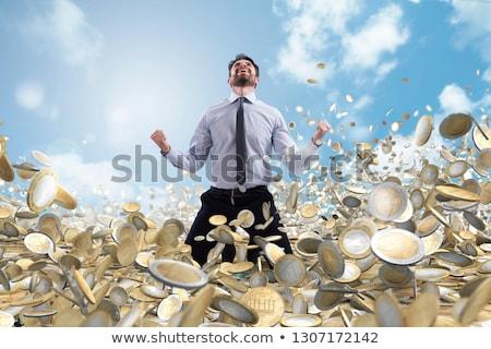 üzletember pénz érmék sikeres boldog eső Stock fotó © alphaspirit