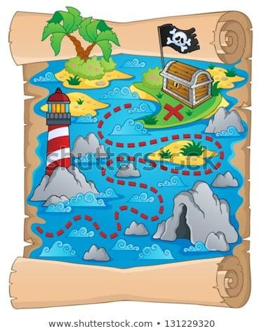 piraat · kaart · illustratie · scroll · papier · zee - stockfoto © clairev