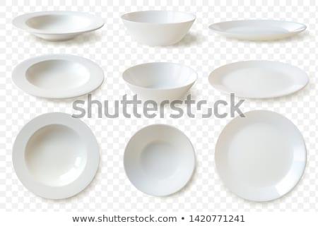 Vuota bianco porcellana piatto uno isolato Foto d'archivio © make