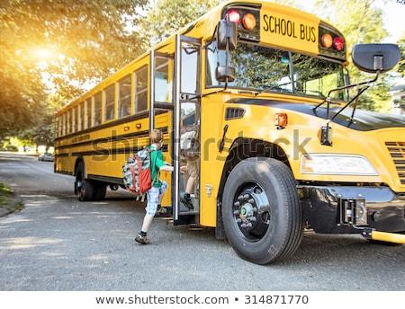 Okul otobüsü örnek park çim çocuklar pencere Stok fotoğraf © colematt