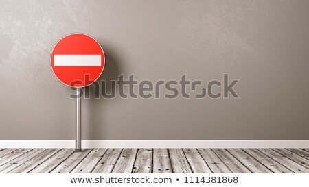 access denied road sign on wooden floor stock photo © make