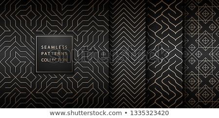 Collection of seamless geometric golden minimalistic patterns. Simple vector graphic black print Stock photo © Iaroslava