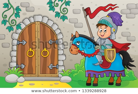 Knight by old door theme image 1 Stock photo © clairev