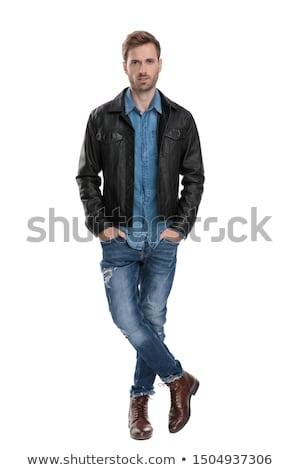 Homem preto jaqueta de couro boné Foto stock © feedough