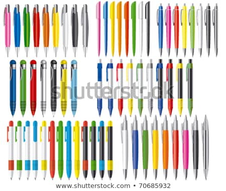 Pen Stationery Set Vector. Office Writing Metal Tools Accessory. Realistic Isolated Illustration Stock photo © pikepicture