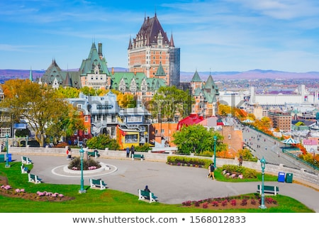 the frontenac castle in old quebec city in the beautiful autumn season stock photo © lopolo