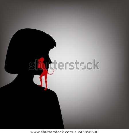 Dziewczyna diabeł nieprzytomny ilustracja kobieta anioł Zdjęcia stock © adrenalina