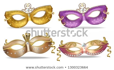 Golden and purple masks set collection Vector realistic. Stylish Masquerade Party. Mardi Gras card i Stock photo © frimufilms