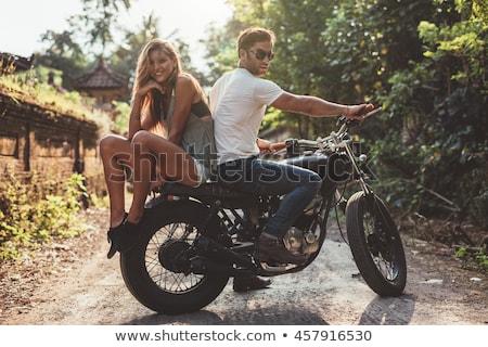 счастливым Постоянный вместе мотоцикле городской улице Сток-фото © deandrobot