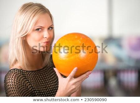 Smiling woman with bowling ball Foto stock © Kzenon
