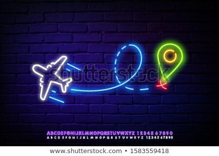 Airplane Neon Label Stock photo © Anna_leni