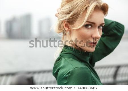 blond · poseren · hemel · vrouw · sexy - stockfoto © konradbak