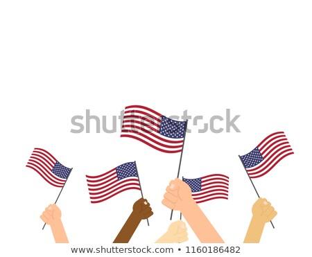 feliz · mulher · jovem · bandeira · americana · ao · ar · livre · país · dia - foto stock © choreograph