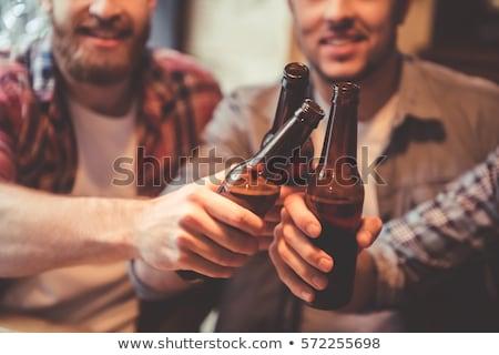 vier · handen · flessen · bier · boom · hand - stockfoto © pressmaster