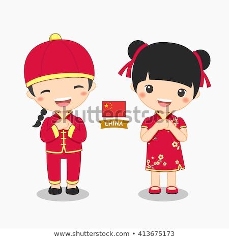 Junge Mädchen China Flagge Illustration Kind Stock foto © colematt
