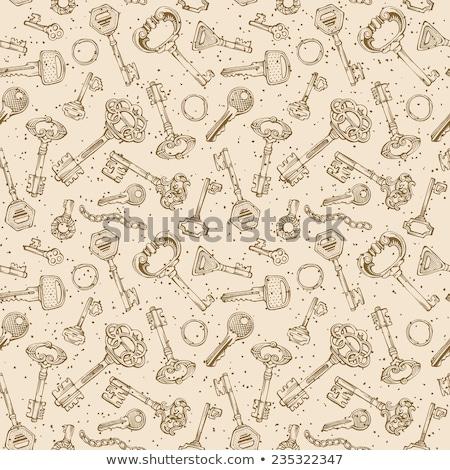 Ornamental medieval vintage keys pattern Stock photo © netkov1