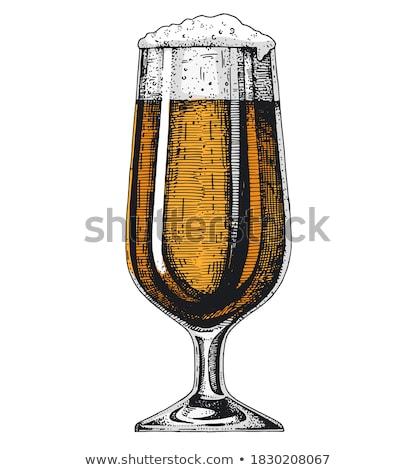 Dessinés à la main verre jambe couleur mousse bière Photo stock © pikepicture