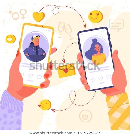 Datant app réunion homme femme ligne Photo stock © robuart
