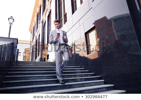 Işadamı yürüyüş merdiven açık havada iş Stok fotoğraf © Freedomz