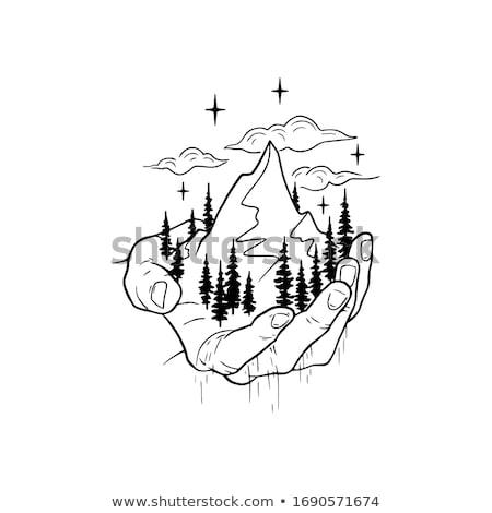色 ピーク 山 風景 ヴィンテージ ベクトル ストックフォト © pikepicture