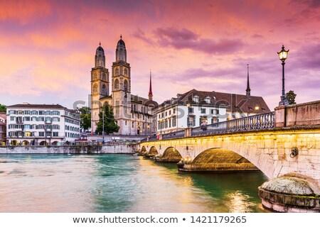 Ver Zurique igreja noite Suíça cityscape Foto stock © borisb17