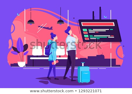 couple travelers in airport man and woman vector stock photo © robuart