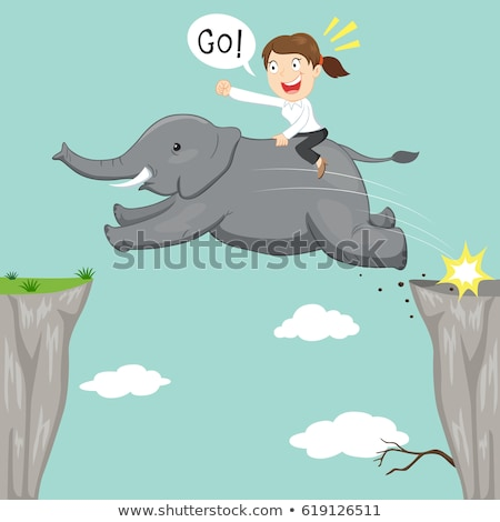 cartoon elephant jumping stock photo © bennerdesign