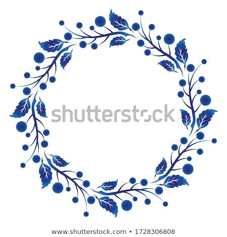 retro ornamental round frames isolated on blue stock photo © robuart