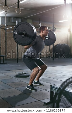 Gewichtheffer barbell cartoon illustratie sport Stockfoto © antkevyv