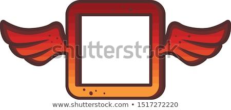квадратный красный логотип марка икона знак Сток-фото © vector1st
