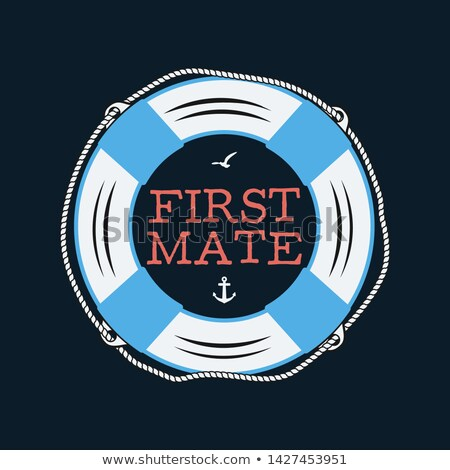 Nautical style vintage print design for t-shirt, logos or badge. First mate typography with seagull  Stock photo © JeksonGraphics