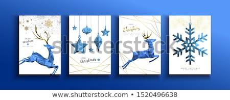 Noël nouvelle année bleu faible cerfs carte Photo stock © cienpies