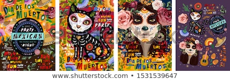 Day of the dead mexican sugar skull greeting card Stock photo © cienpies