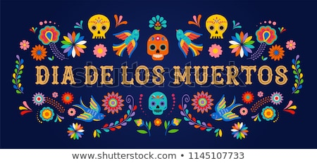 Day of the dead floral mexican skull greeting card Stock photo © cienpies